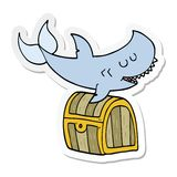 Sticker of a cartoon shark swimming over treasure chest. A creative illustrated sticker of a cartoon shark swimming over treasure chest vector illustration