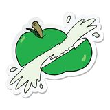 Sticker of a cartoon sliced apple. A creative sticker of a cartoon sliced apple royalty free illustration