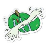 Sticker of a cartoon sliced apple. A creative sticker of a cartoon sliced apple vector illustration