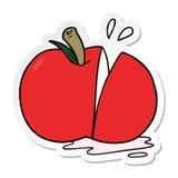 Sticker of a cartoon sliced apple. A creative illustrated sticker of a cartoon sliced apple royalty free illustration