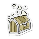 Sticker of a cartoon treasure chest. A creative illustrated sticker of a cartoon treasure chest royalty free illustration