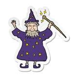Sticker of a cartoon wizard. A creative illustrated sticker of a cartoon wizard vector illustration