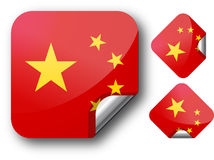 Sticker with China flag Royalty Free Stock Image