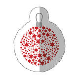 Sticker christmas wreath of glass with star decorations. Illustration royalty free illustration