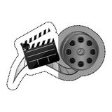 Sticker with cinematography movie video film tap and clapperboard. Illustration Royalty Free Stock Photos