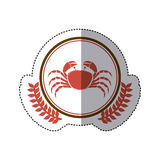 Sticker circular border with crown branch with crab. Illustration Stock Image