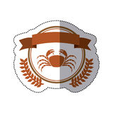 Sticker circular border with crown branch with crab and label. Illustration Royalty Free Stock Photography