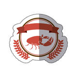 Sticker circular border with crown branch with crab and label. Illustration Royalty Free Stock Photo