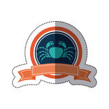 Sticker circular borders with crown branch with crayfish and label. Illustration Stock Image