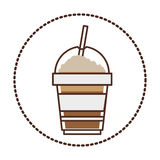 Sticker circular shape with glass disposable of cappuccino with Skinny drinks. Illustration Stock Photos