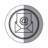 Sticker circular shape with silhouette envelope with mailing sheet and at sign. Illustration Stock Photo