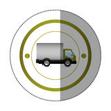 Sticker with circular shape with truck and wagon Royalty Free Stock Images