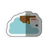 Sticker cloud in cumulus shape with briefcase and document with fold. Illustration Royalty Free Stock Photo
