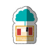 Sticker cloud in cumulus shape connected to laptop. Illustration Stock Image