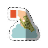 Sticker cloud in cumulus shape with hand holding a bill with dollar symbol. Illustration Stock Image