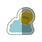Sticker cloud in cumulus shape with light bulb with filaments. Illustration Stock Image