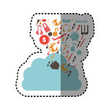 Sticker cloud in cumulus shape with set collection investment and tech. Illustration Stock Images