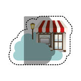 Sticker cloud in cumulus shape with store with lamp. Illustration Stock Photography