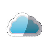 Sticker cloud tridimensional in cumulus shape. Illustration Stock Photo