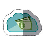 Sticker cloud tridimensional in cumulus shape with stacked banknote. Illustration Stock Photos