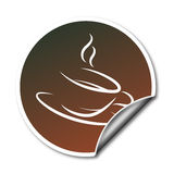 Sticker with coffee cup vector illustration