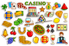 Sticker collection for Casino and Gambling object icon. Vector illustration of sticker collection for Casino and Gambling object icon Royalty Free Stock Photo