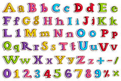 Sticker collection for comic style alphabet and number Royalty Free Stock Images