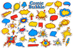 Sticker collection for comic style chat bubble Stock Photos