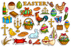 Sticker collection for Easter holiday celebration object Royalty Free Stock Photo