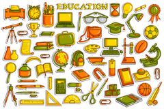 Sticker collection for education object Stock Images