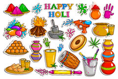Sticker collection for Holi holiday celebration object. Vector illustration of sticker collection for Holi holiday celebration object vector illustration