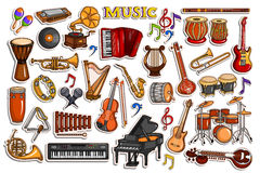 Sticker collection for music and entertainment instrument object Royalty Free Stock Image