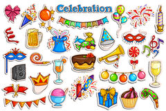 Sticker collection for Party and Celebration label. Vector illustration of sticker collection for Party and Celebration label stock illustration
