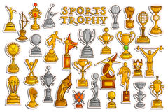 Sticker collection for Sports Victory Gold Cups and Trophy. Vector illustration of sticker collection for Sports Victory Gold Cups and Trophy Royalty Free Stock Images