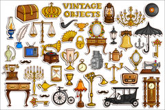 Sticker collection for vintage and antique object Stock Images