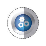 sticker color circular emblem with pinions set icon Royalty Free Stock Photography