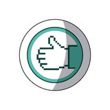 sticker color circular frame of pixel hand with signal ok Stock Images
