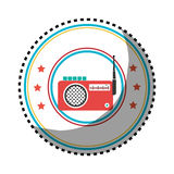 Sticker color circular frame with radio stereo Royalty Free Stock Photography