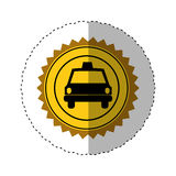 sticker color of circular seal with taxi car Stock Images
