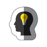 sticker color human face silhouette with bulb light in mind Stock Photos