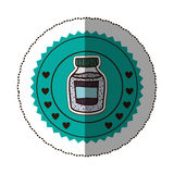 sticker color round frame with bottle with salt and pepper Stock Photo