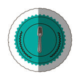 sticker color round frame with fork Royalty Free Stock Images