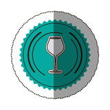 sticker color round frame with glass of champagne sour Stock Photos