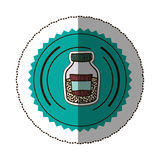 sticker color round frame with half bottle with salt and pepper Stock Images