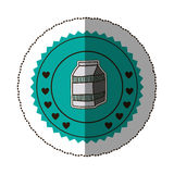 sticker color round frame with milk carton Royalty Free Stock Photo