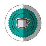 sticker color round frame with porcelain mug Stock Photo