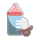 Sticker color silhouette with baby bottle and pacifier Royalty Free Stock Photography