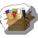 Sticker color silhouette with box obsolete objects Stock Images