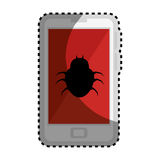 Sticker color silhouette with cell phone with virus beetle Royalty Free Stock Photography