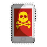 Sticker color silhouette with cell phone with virus skull and bones Stock Image